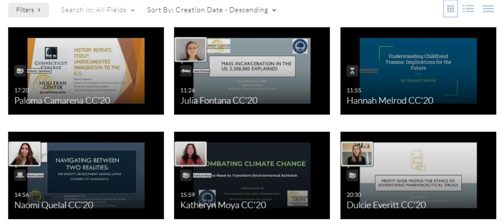Screenshot of Holleran Center 2020 Senior Projects